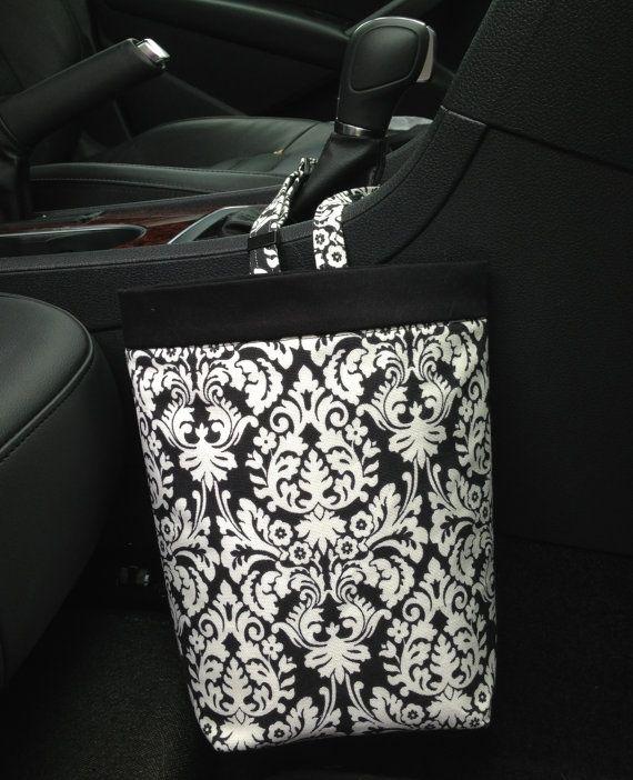 Elephants in Black and White Car Trash Bag