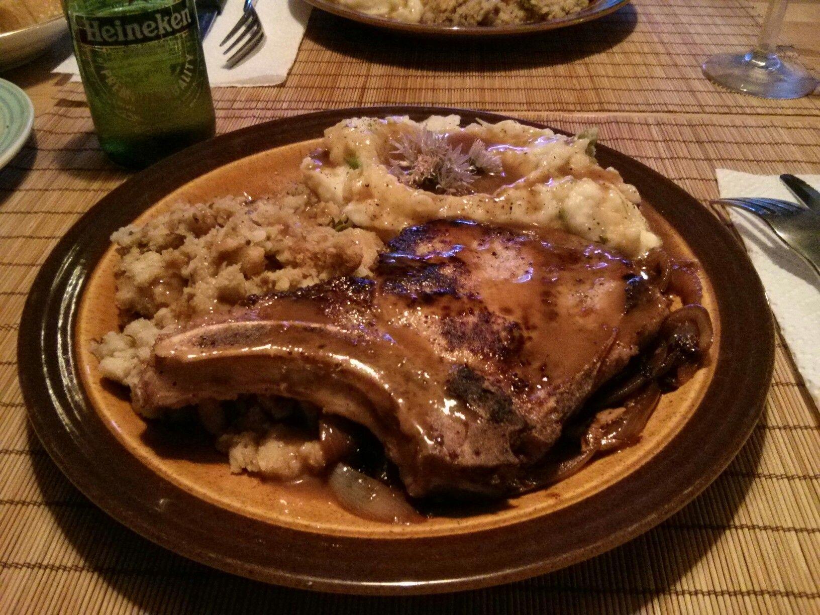 Spanish-style #Fried #Pork Chop, Mashed Potatoes w/ #Gravy & Stuffing #allkindsofrecipes # ...