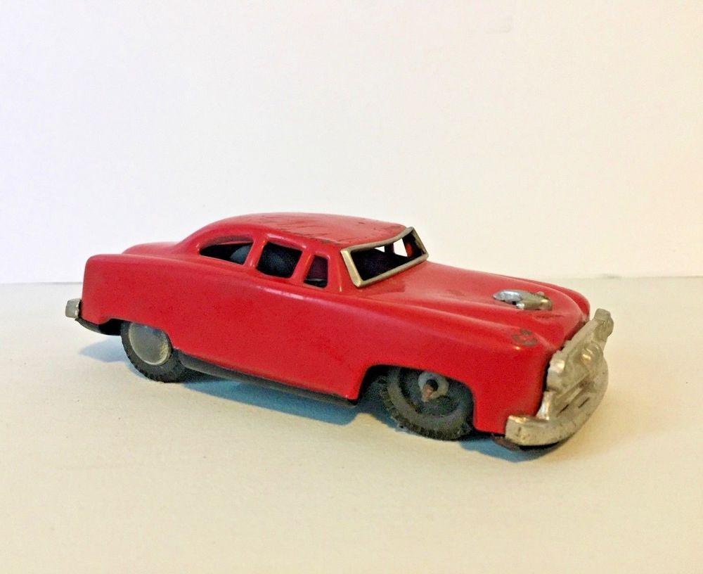 VINTAGE JAPAN TIN METAL RED FRICTION CAR TOY VEHICLE # ...