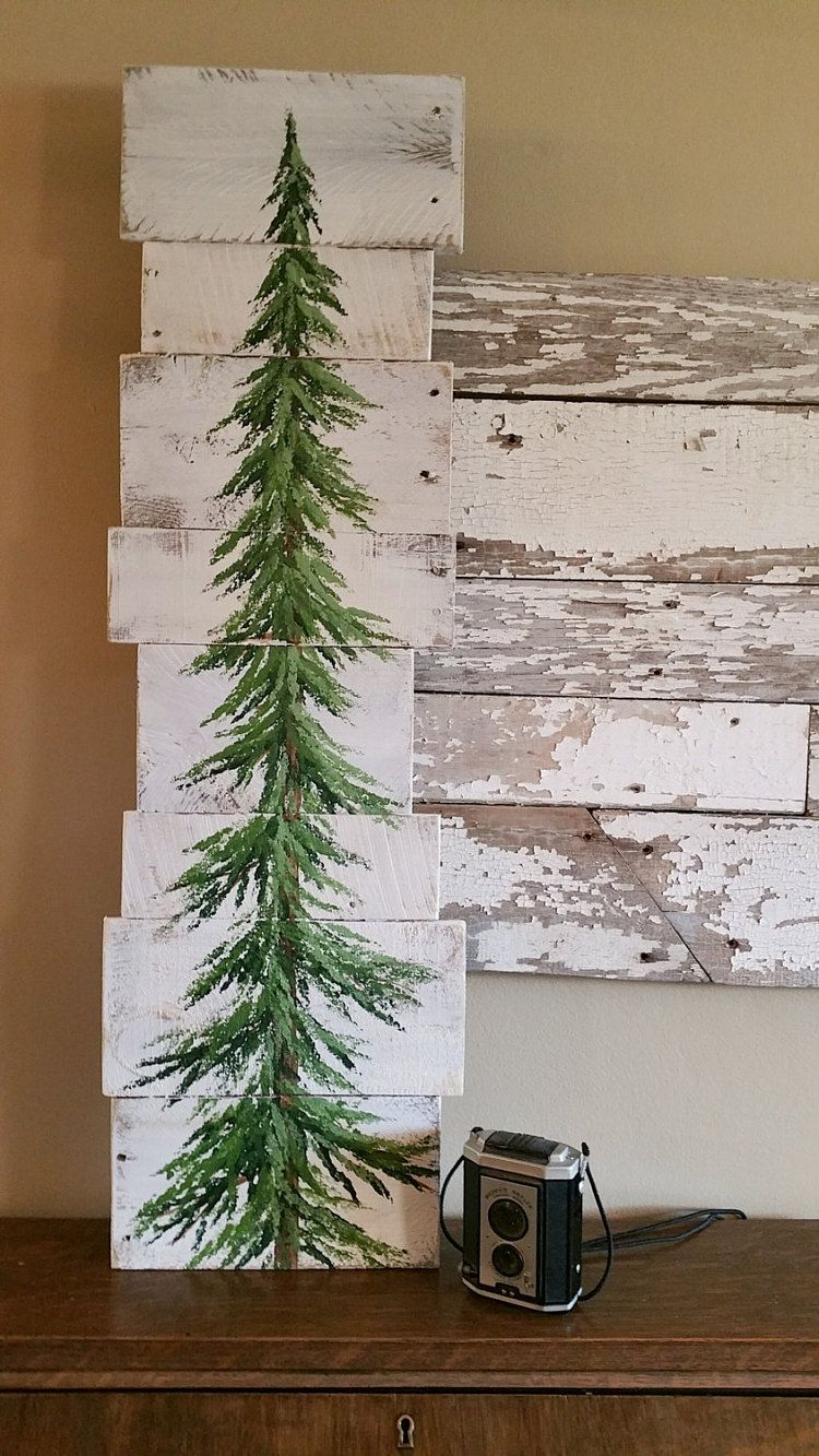 Pine Tree Christmas Tree White Washed Reclaimed Wood Pallet Art Winter Snow Christmas Hand Painted Upcycled Wall Art Distressed Christmas Tree Art Wood Pallet Art Pallet Christmas Tree