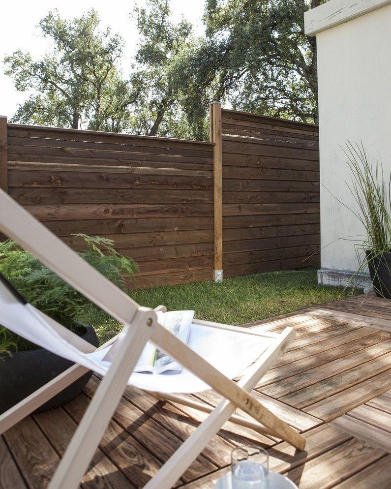 Zoom Sur L Eclairage De Jardin Et Le Panneau En Noisetier Leroy Merlin En 2020 Eclairage De Jardin Cloture Jardin Bois Decoration Exterieur