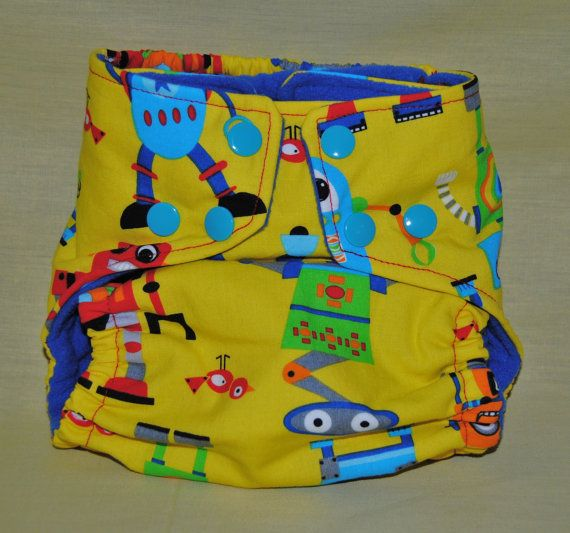 Yellow Robots Pocket Cloth Diaper with Snaps, OSFM on Etsy, $18.00