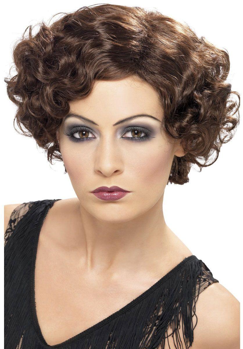 1920s Flirty Flapper Wig, Brown Fancy dress wigs