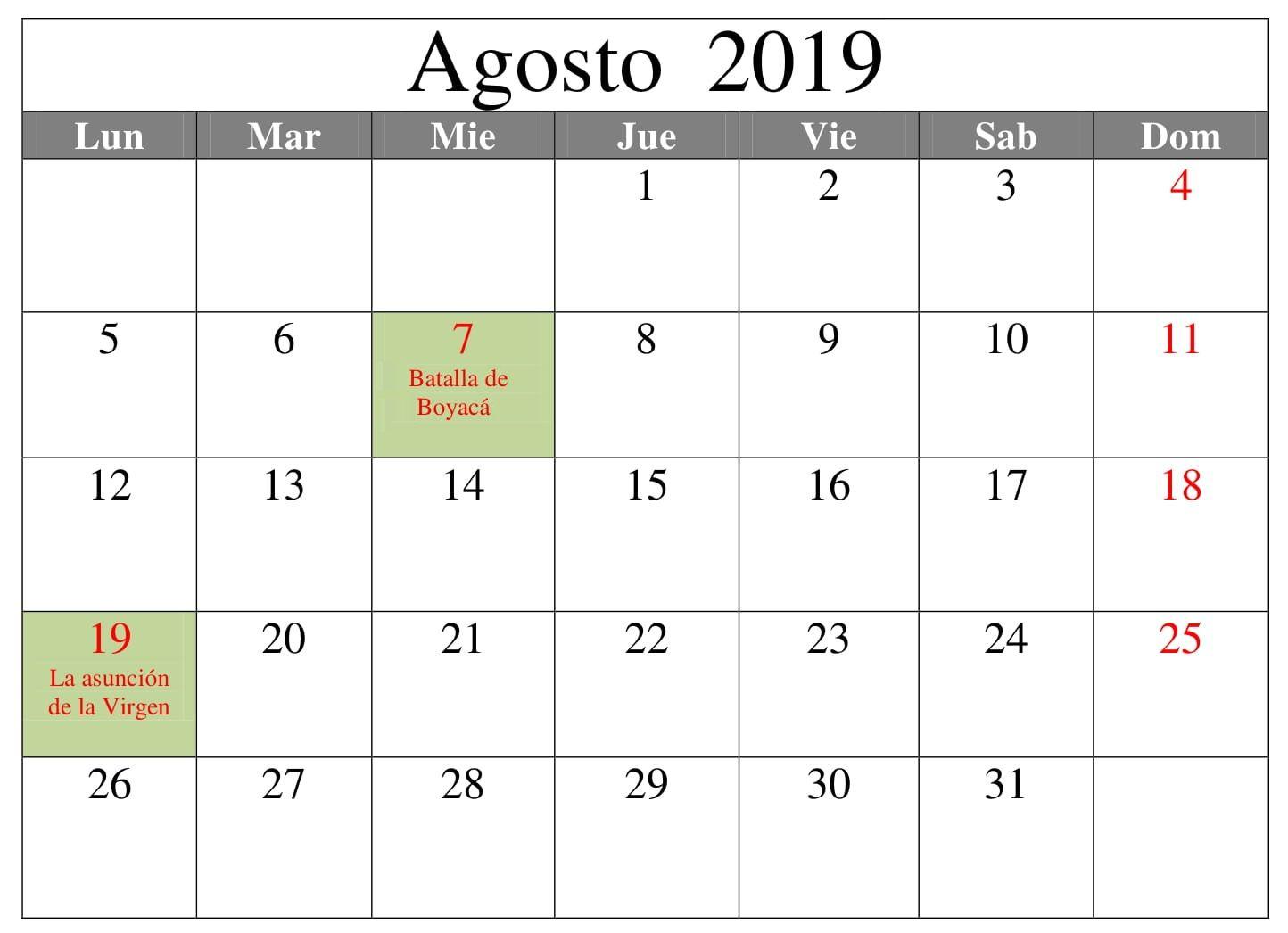 Calendario Agosto 2019 Con Feriados.Calendario Agosto Editable 2019 Con Festivos Calendario
