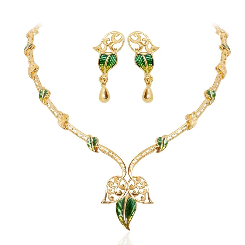 The enameled mango leaf gold necklace want pinterest gold