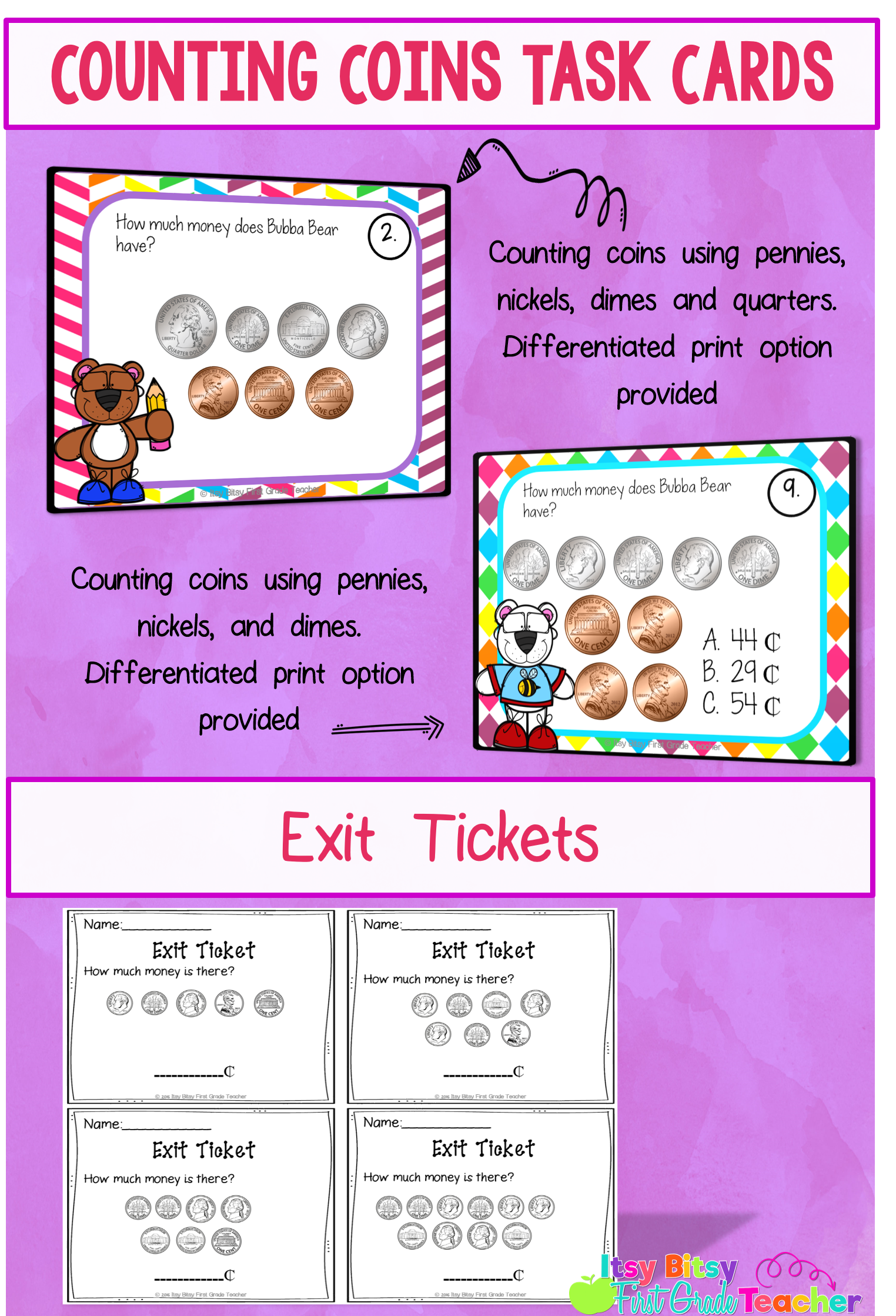 Counting Coins Task Cards Differentiated