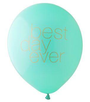 Best Day Ever Balloon: Aqua/Gold