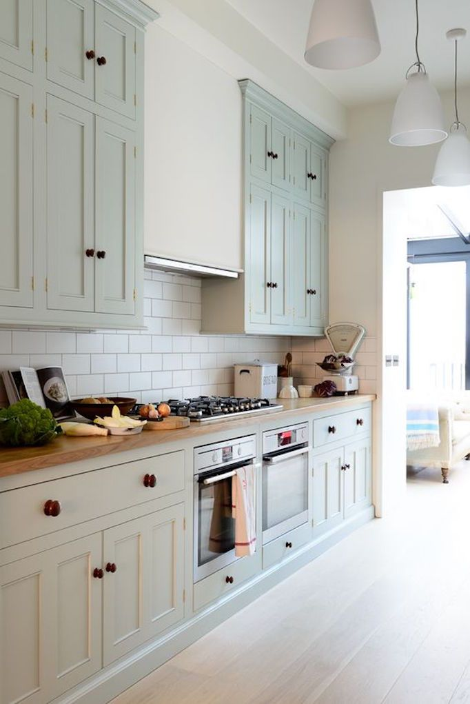 Kitchen With Green Gray Cabinets Farmhouse Kitchen Design Rustic Kitchen Cabinets Kitchen Design