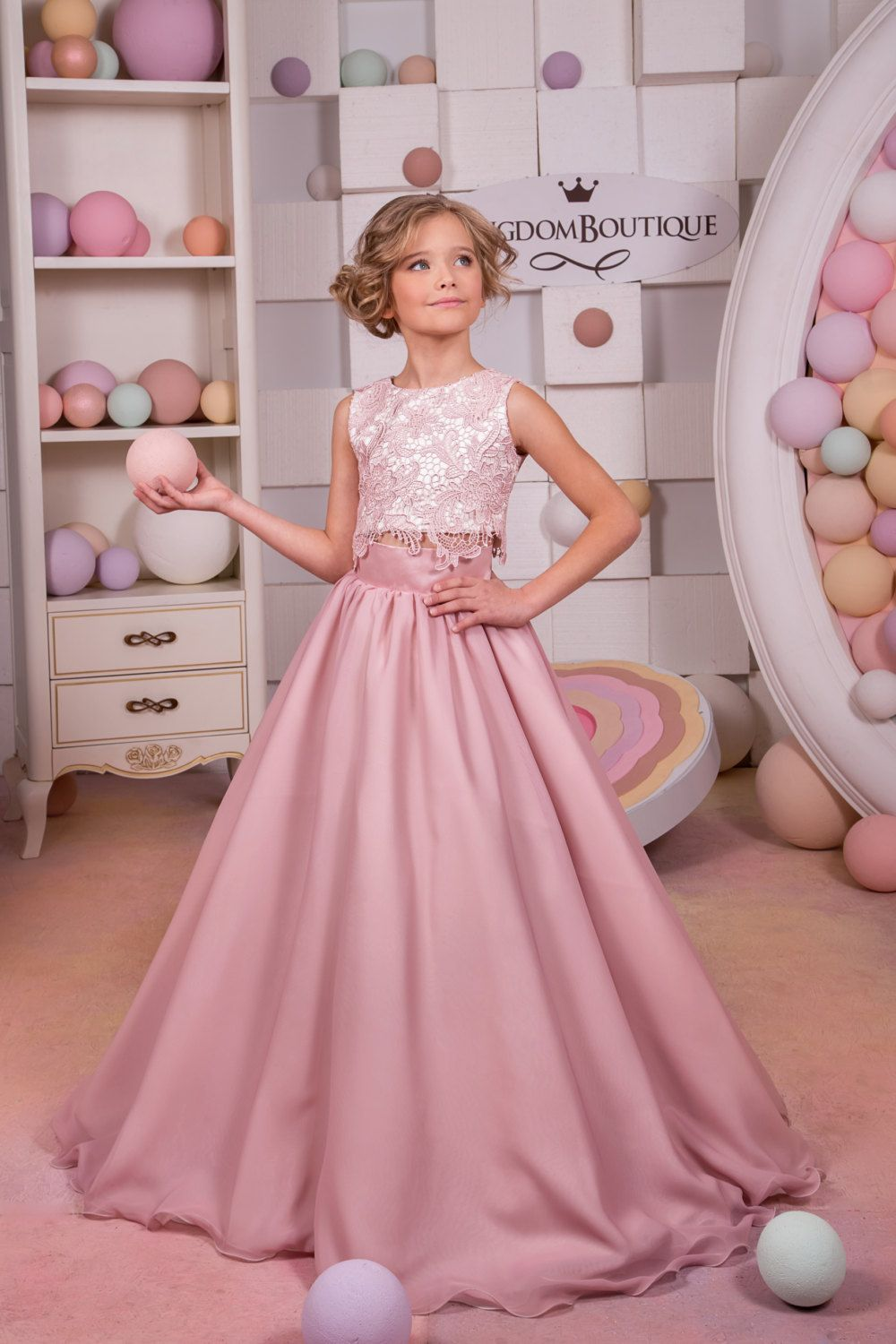 Blush Pink Lace Satin Flower Girl Dress Wedding Party | little ...