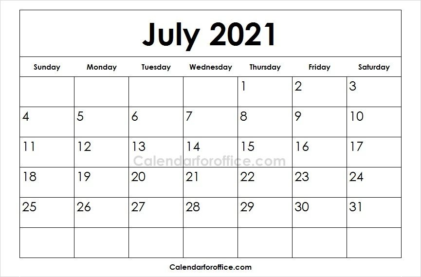 Download Free Printable 2021 July Calendar In Different Formats This Is The Official Calendar Portal And We February Calendar July Calendar Calendar Template