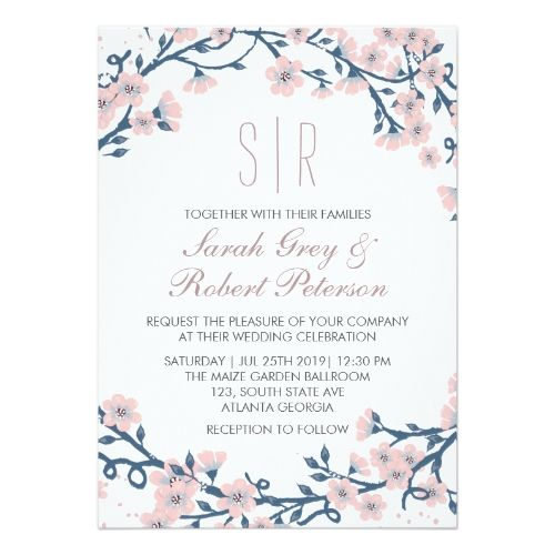 pink cherry blossom flower wedding invitation pink wedding