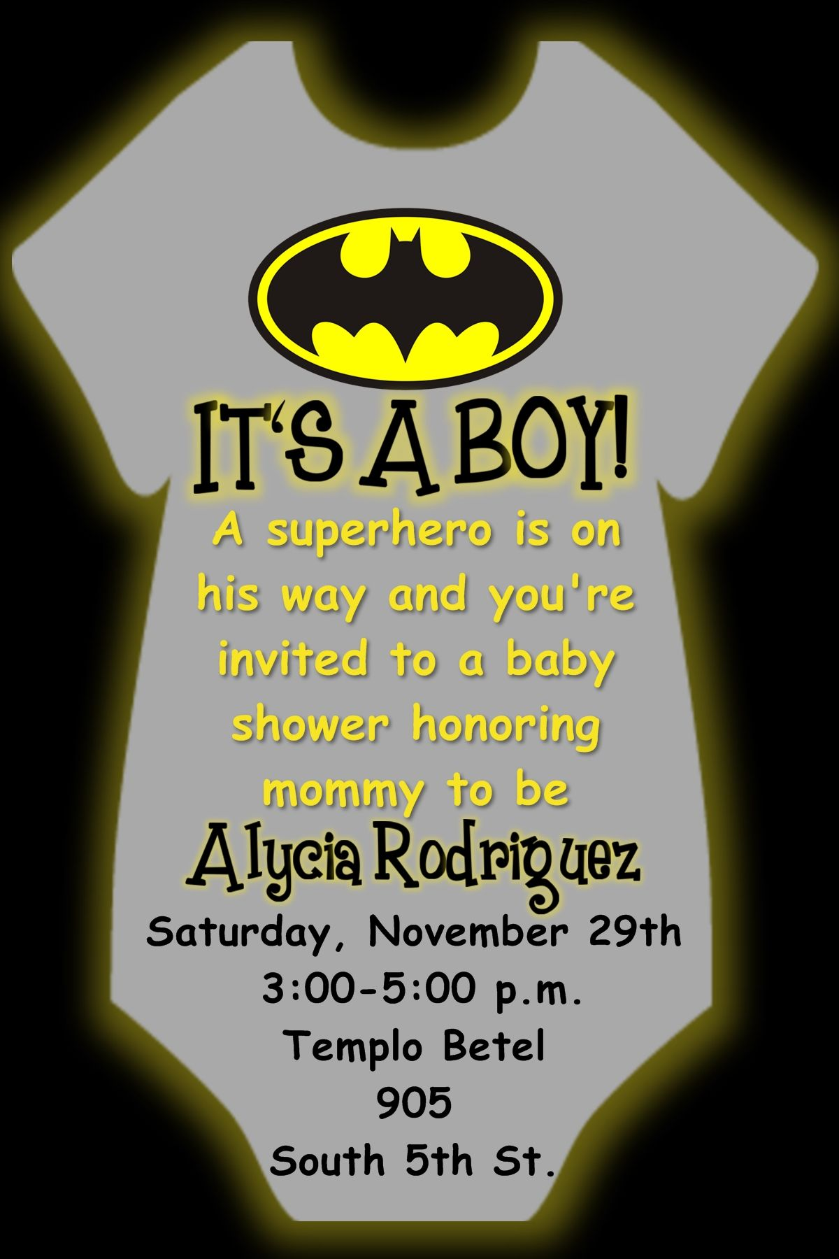 Beautiful Batman Onesie Baby Shower Invitation In If You Wish To Order This Or Anyu2026