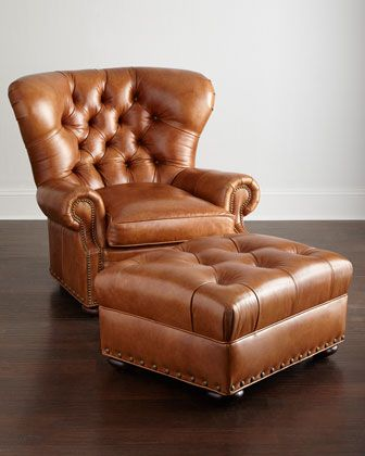 Lansbury Tufted Leather Chair Ottoman Tufted Leather Chair Tufted Leather Ottoman Leather Chair