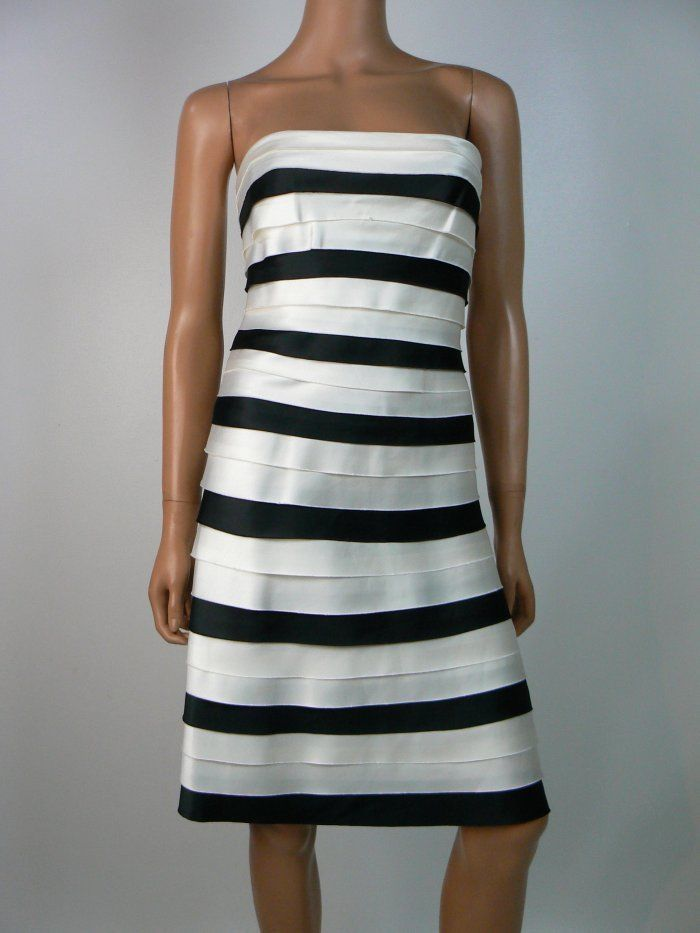 Satin Stripe A-Line Dress BCBG