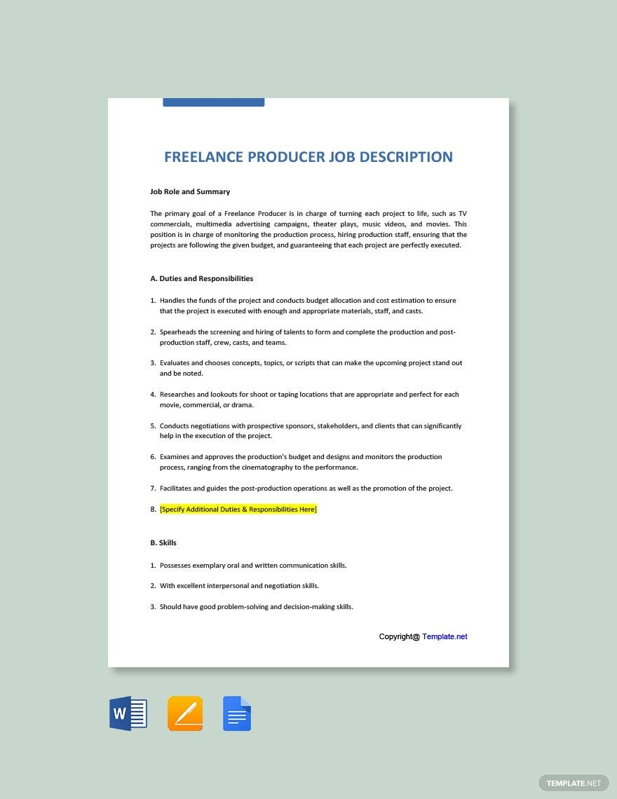 Free Freelance Producer Job Description Template In 2020 Job
