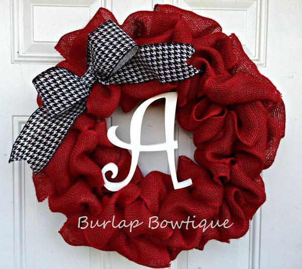 Photo of Burlap Wreath / Initial Burlap Wreath / Alabama Burlap Wreath / Door Decor / Home Decor