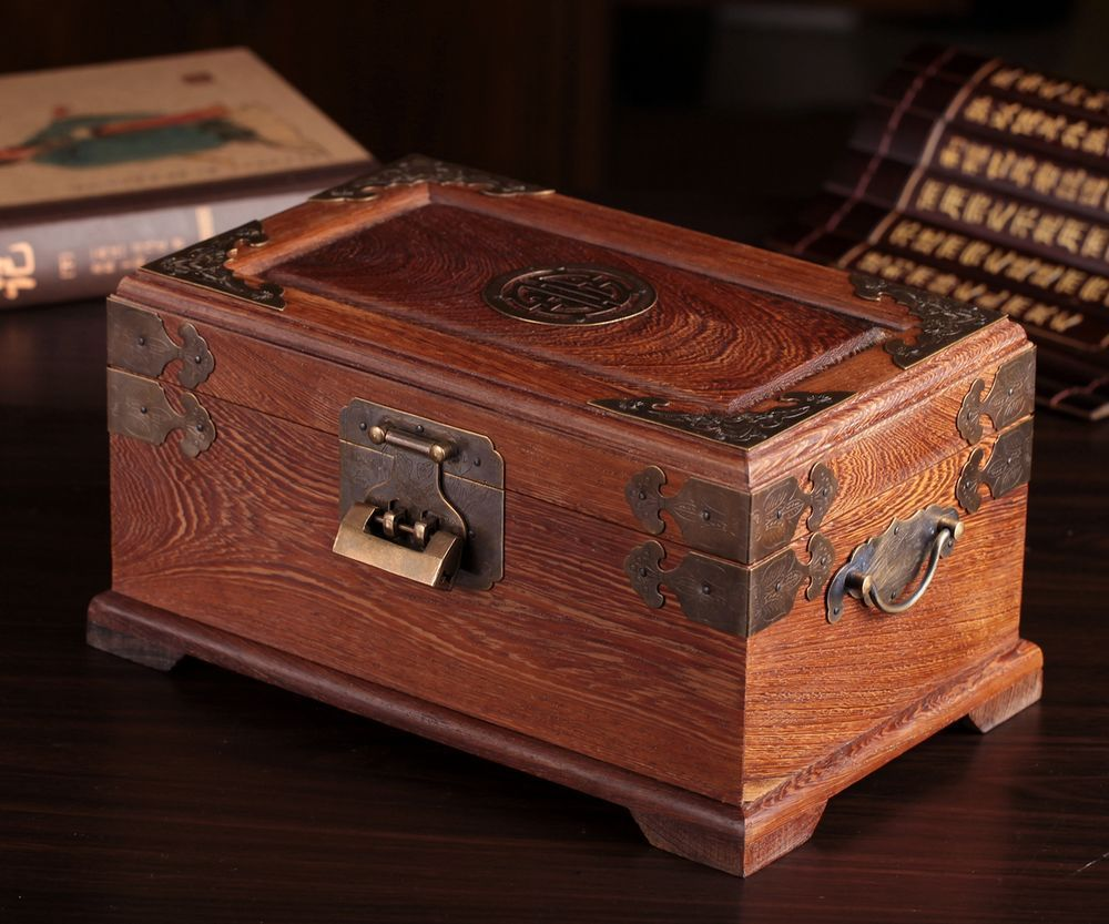 Antique Mahogany Jewelry Box With Lock Storage Box Large Wenge Chinese  Multilayer Solid Wood Vintage Treasure Chest In Jewelry Packaging U0026 Display  From ...