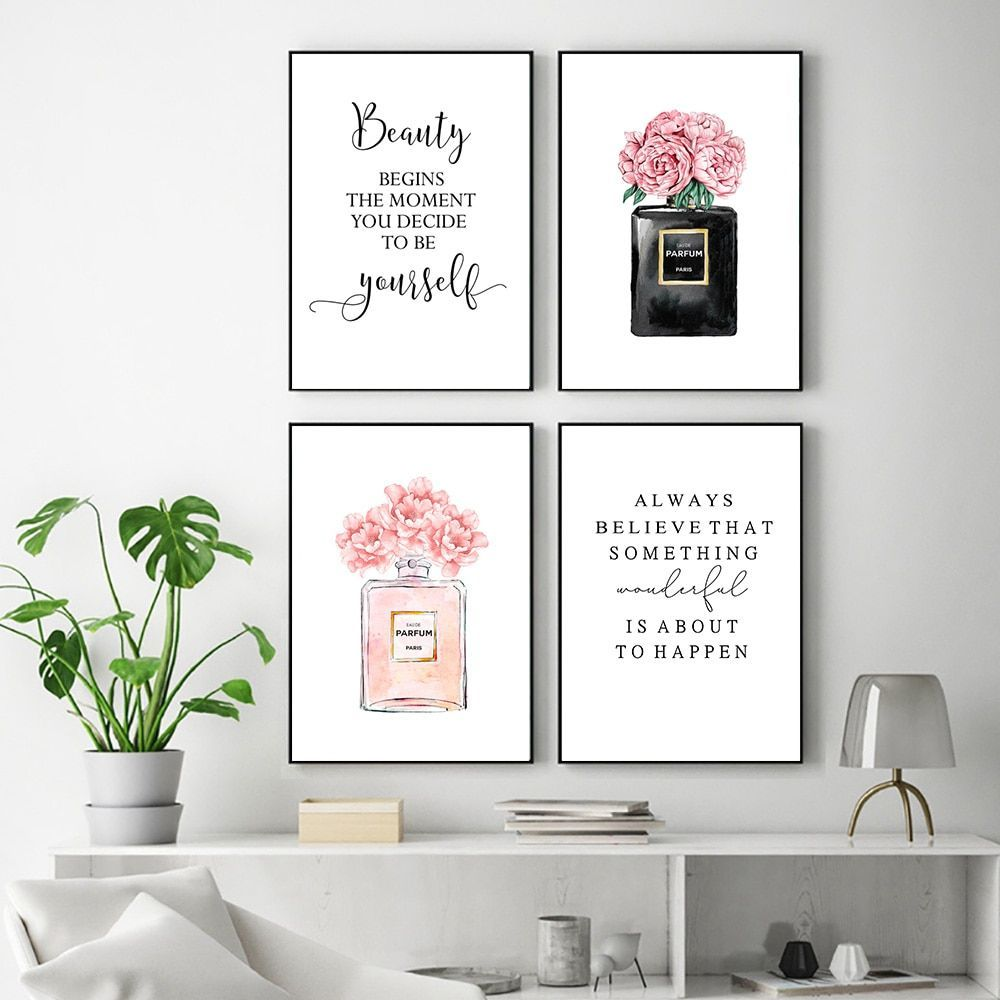 Fashion Wall Art Painting Pink Perfume Poster Makeup Canvas Print Quotes Posters And Prin In 2020 Fashion Wall Art Bedroom Decor Fashion Wall Art Canvas Art Wall Decor