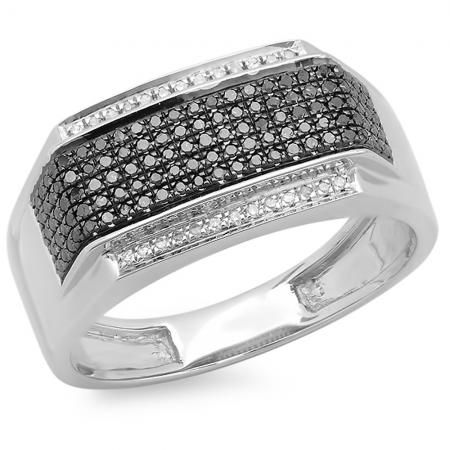 ctw Round Black /& White Diamond Mens Flashy Hip Hop Pinky Ring Dazzlingrock Collection 0.40 Carat Sterling Silver