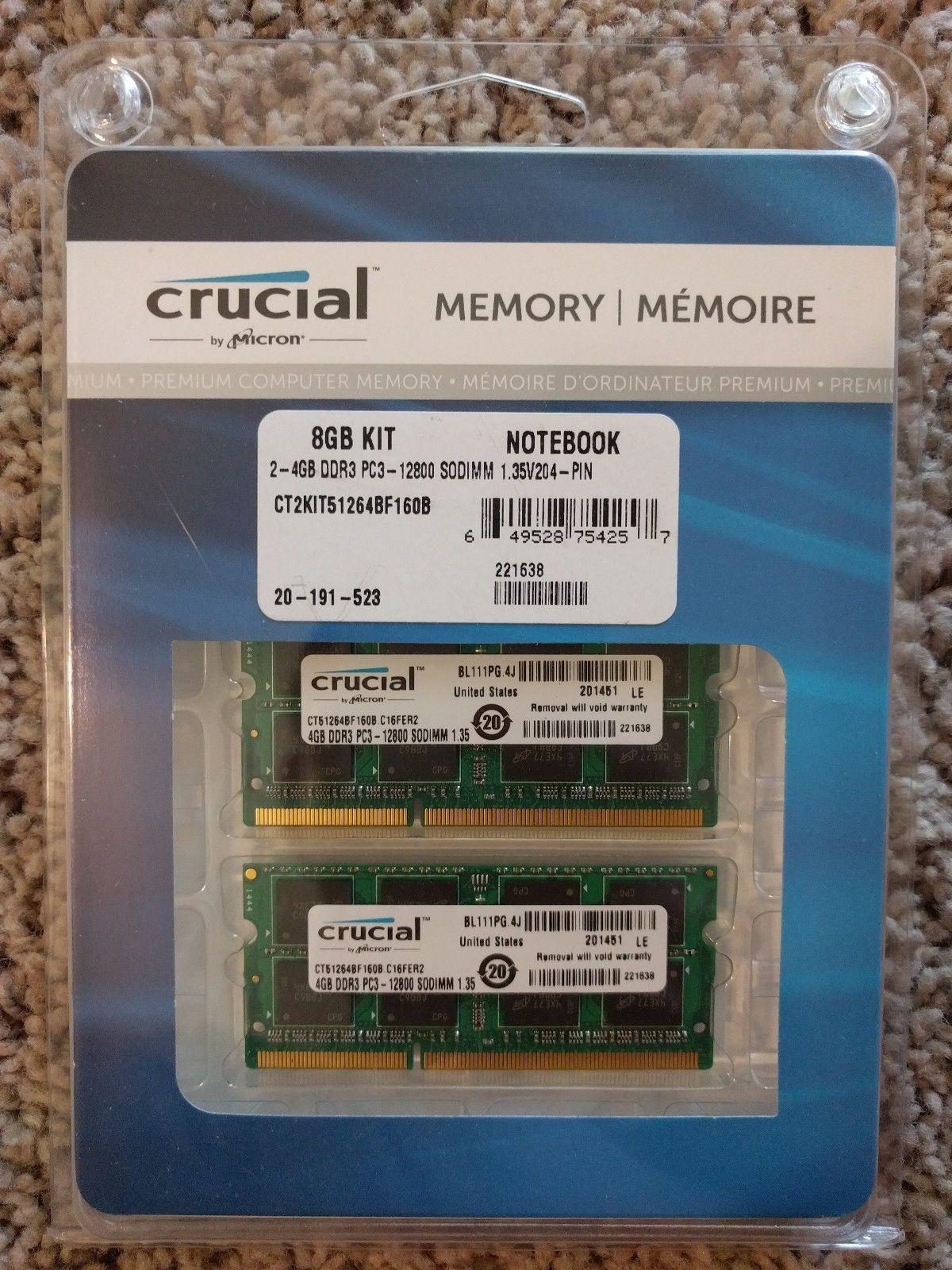 Crucial 8GB 2 x 4GB 204 Pin DDR3 SO DIMM DDR3L 1600