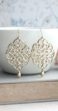 Large Moroccan Gold Filigree Chandelier Dangle Earrings