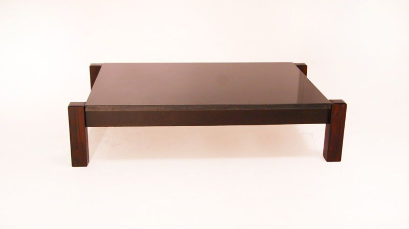 Solid Rosewood and Black Marble Coffee Table from Brazil Black