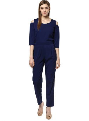 bc57e2582093 Magnetic Designs Women s Navy Blue Polyester Crepe Jumpsuit Colour   Navy  blue color Fabric  Polyester Crepe Round Neck