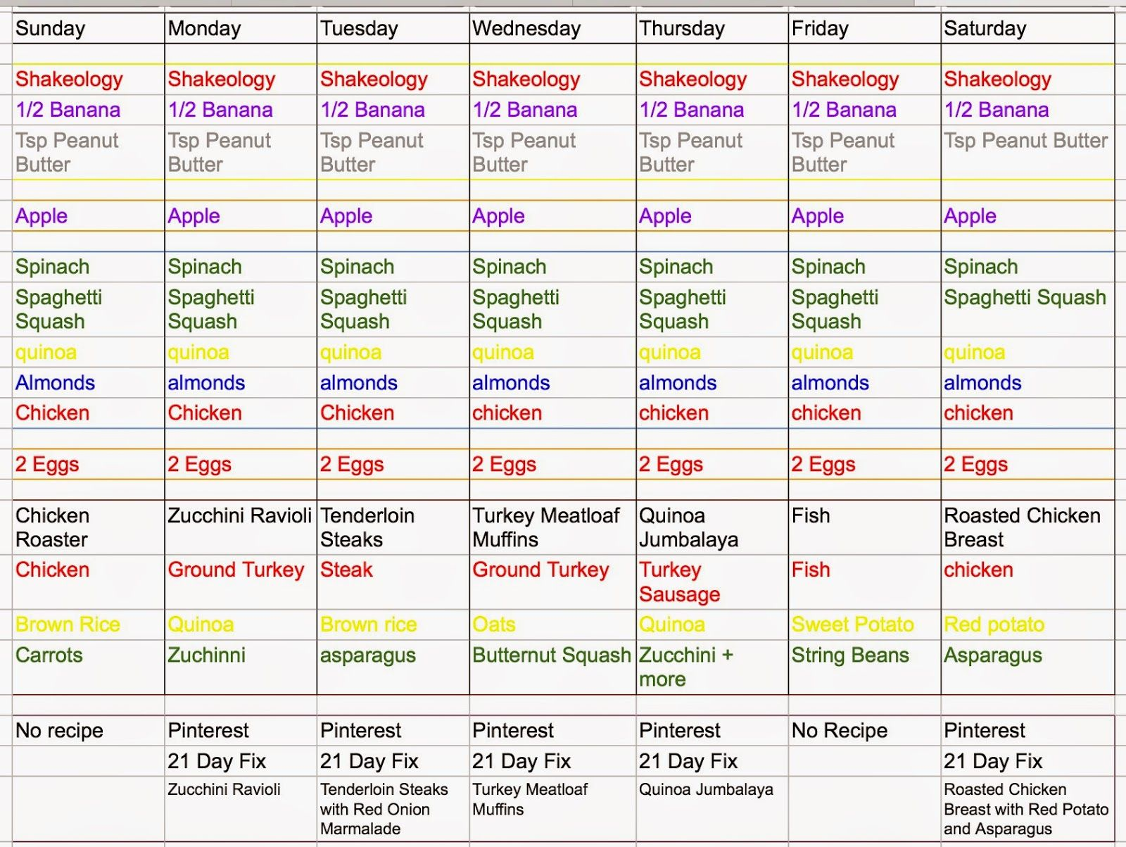 21 Day Fix - Healthy, Happy & Gluten Free: Meal Planning ...