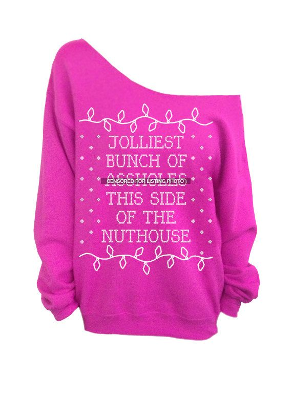 Ugly Christmas Sweater Pink Slouchy Oversized Crew Jolliest