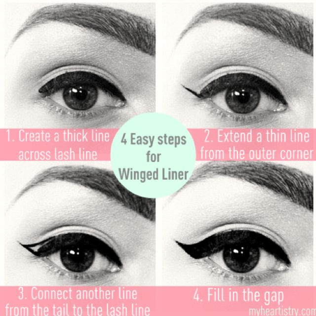 a023b8b3144 Easy tutorial for winged eyeliner. ~Use no eyeshadow, just jet black  eyeliner-gel, liquid, or pencil. Finish with light pink cheeks, and gloss  on the lips.