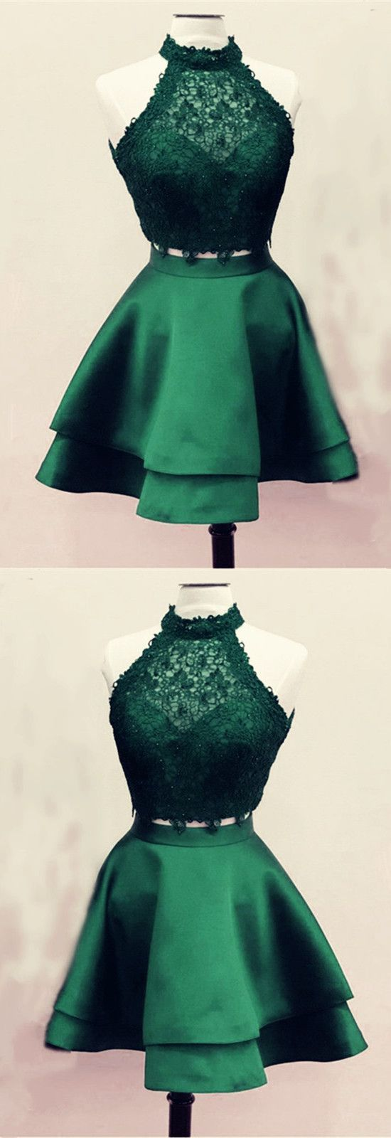 Bottle green prom dress  A Line High Neck Lace Crop Satin Homecoming Dresses Two Piece  prom