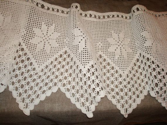 Vintage Crochet Curtain Panel; Long Crochet Panel; White Cotton Hand ...
