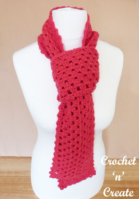 Crochet Granny Scarf Free Crochet Pattern | Crochet Scarves, Cowls ...