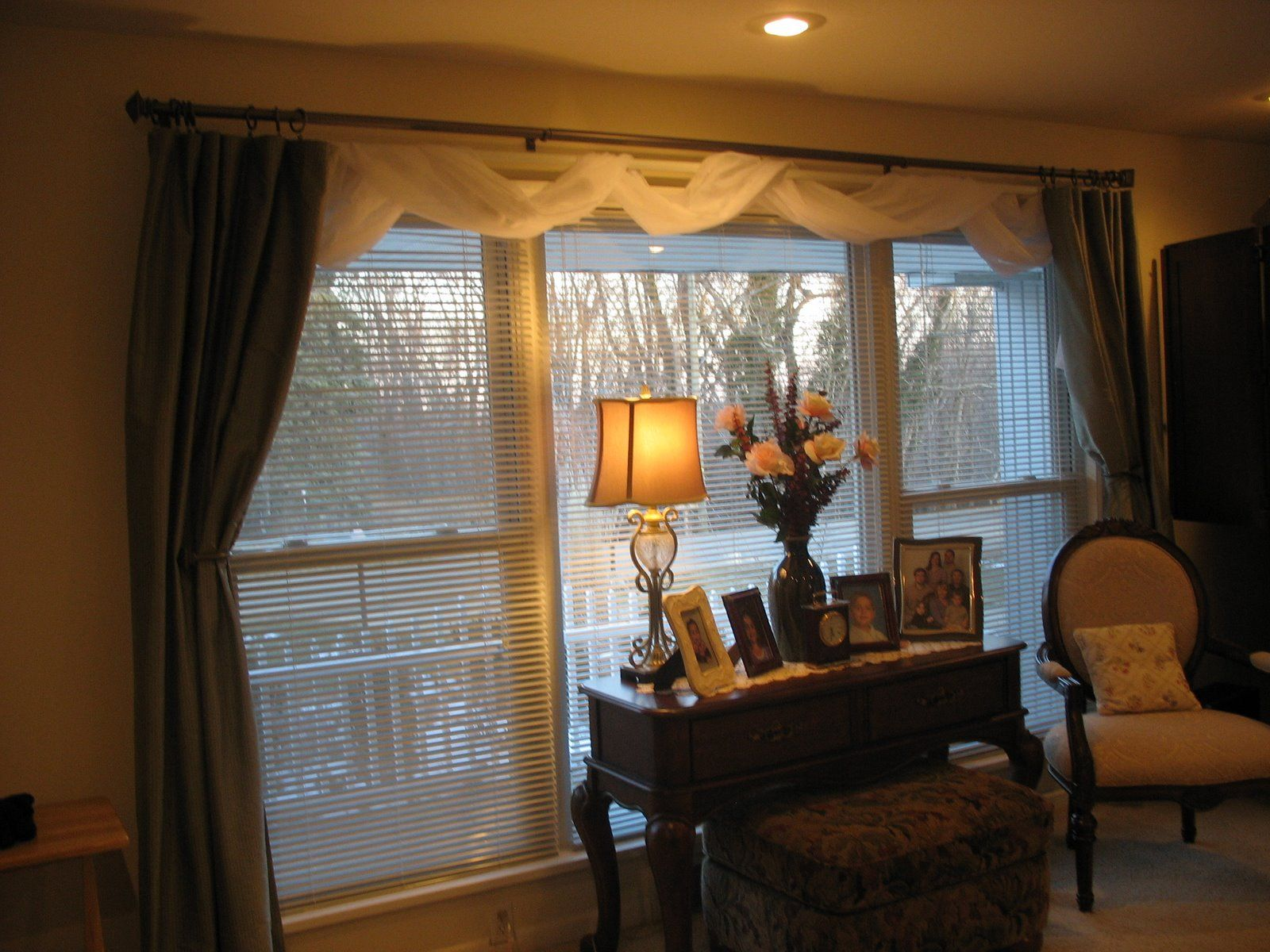 Awesome White Scarf Over Valance Feat Curtains For Wide Windows As Well Antique Wooden Table Living Room