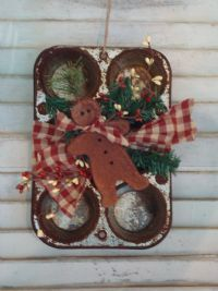 Ginger bread man tied to a muffin tin.rustic Christmas decor