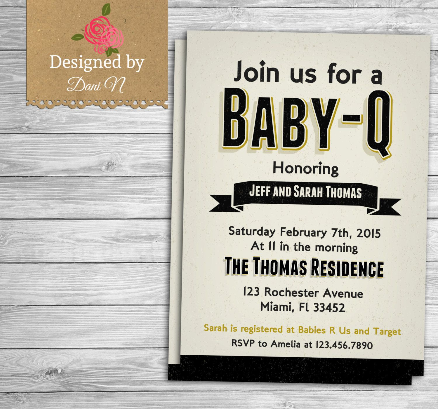 New to DesignedbyDaniN on Etsy: baby shower invitation Rustic Baby Q ...