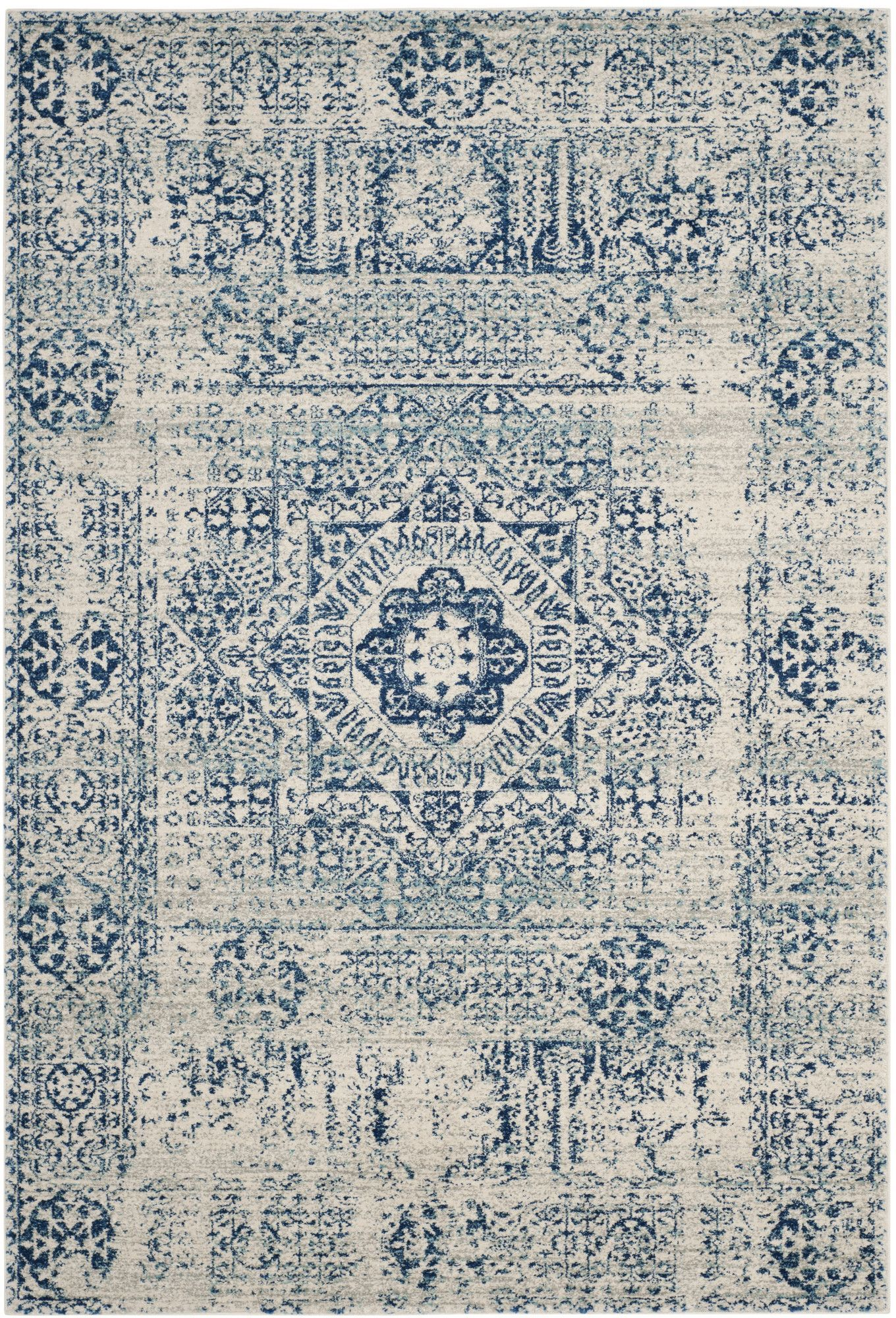 Found it at Wayfair - Ferry Ivory/Blue Area Rug