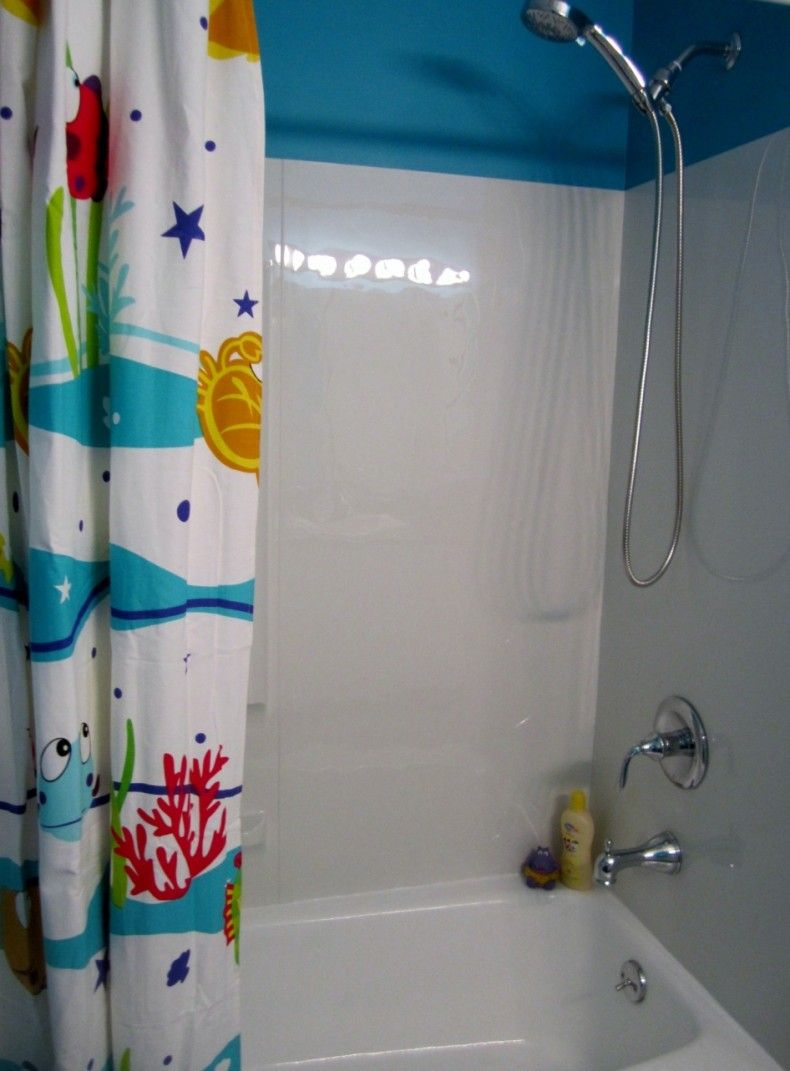 Bathroom Modern Kids Bathroom Design With Shower And Sea Themed - Kids bathroom shower curtains for small bathroom ideas