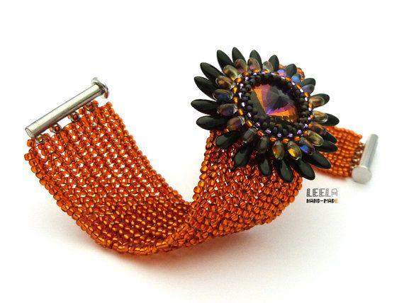 Tramonto in fiore bracciale beadwoven di LeelaBeads su Etsy