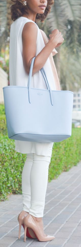 335c1c7da Love the blue bag. Lacoste Baby Blue Chic Leather Large Tote by The Fierce  Diaries