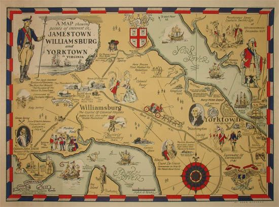 Old map showing location of Jamestown, Virginia. George Glazer ...