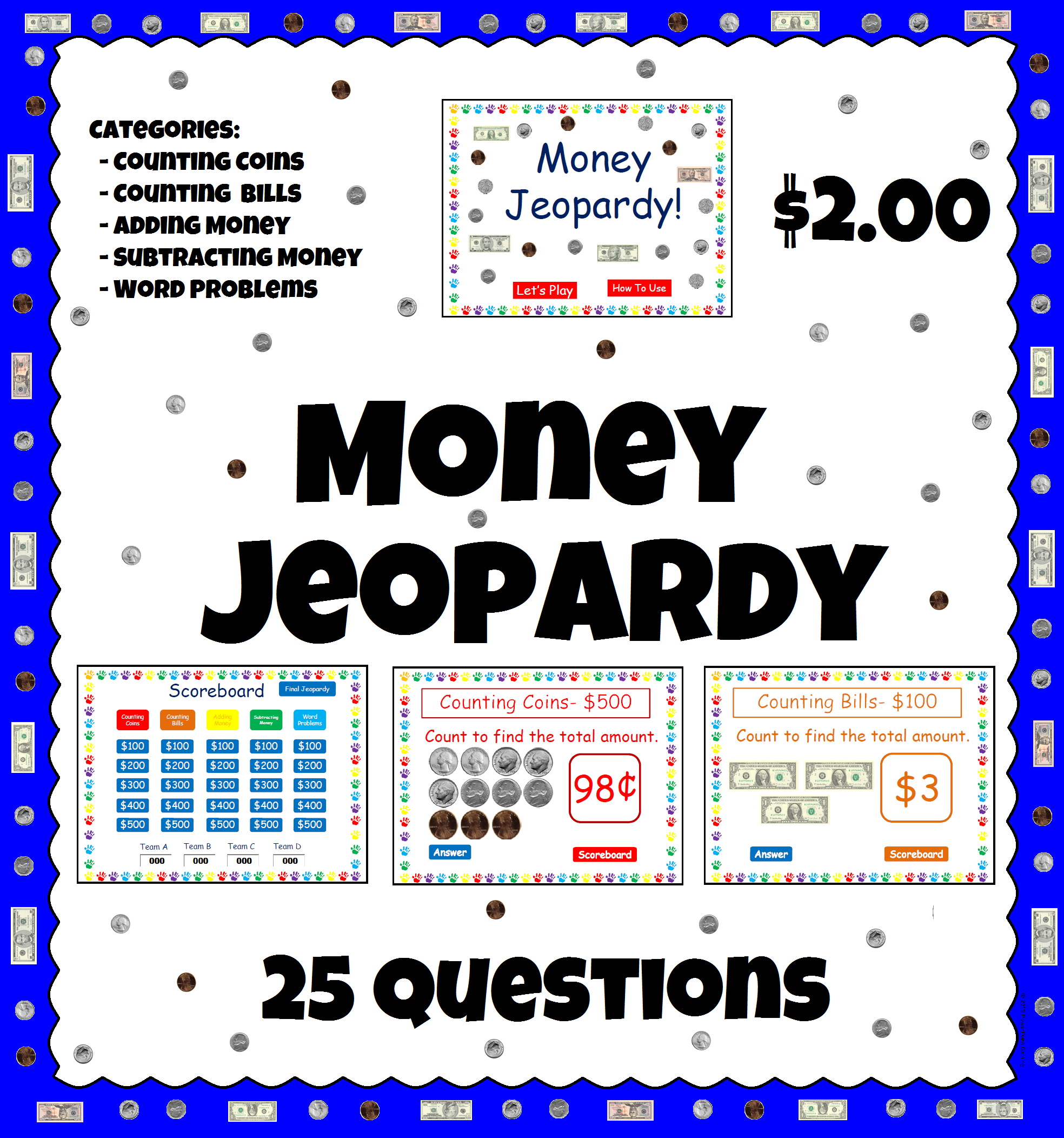 Money Powerpoint Game | Counting coins, Word problems and Common cores