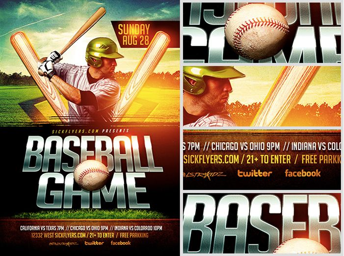 CUSTOMIZABLE BASEBALL FLYER TEMPLATE PSD DOWNLOAD | ExcelTemp ...