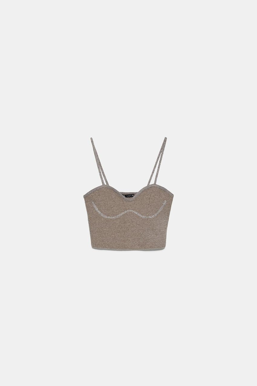 Cropped Top Aus Rippstrick Zara Osterreich Austria In 2020 Cropped Tops Zara Rippen