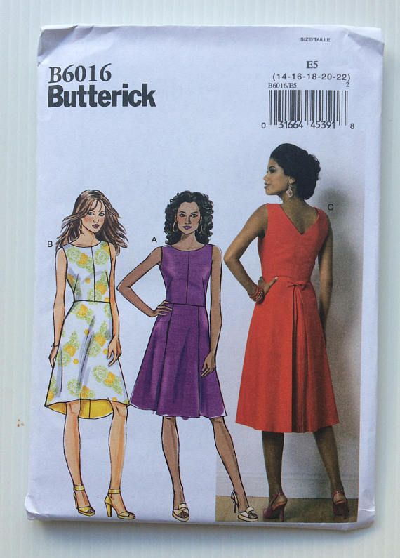 Butterick sewing pattern 6016 - Misses\' dress - size 14-22 | Sewing ...
