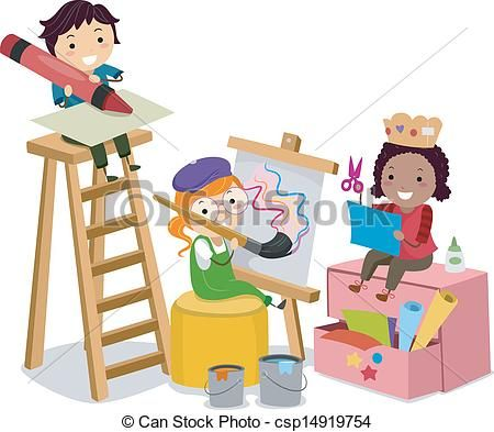 Illustration Of Stickman Kids Making Arts And Crafts Clipart Vector