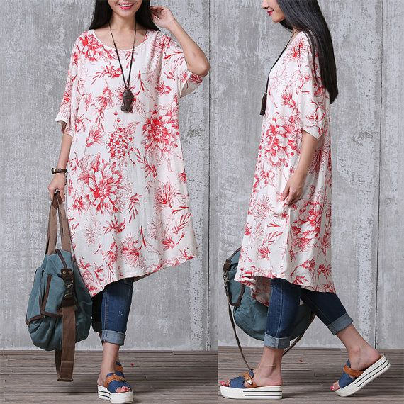 Loose Fitting Cotton And Linen Long Shirt Blouse for Women Short Sleeved Women…