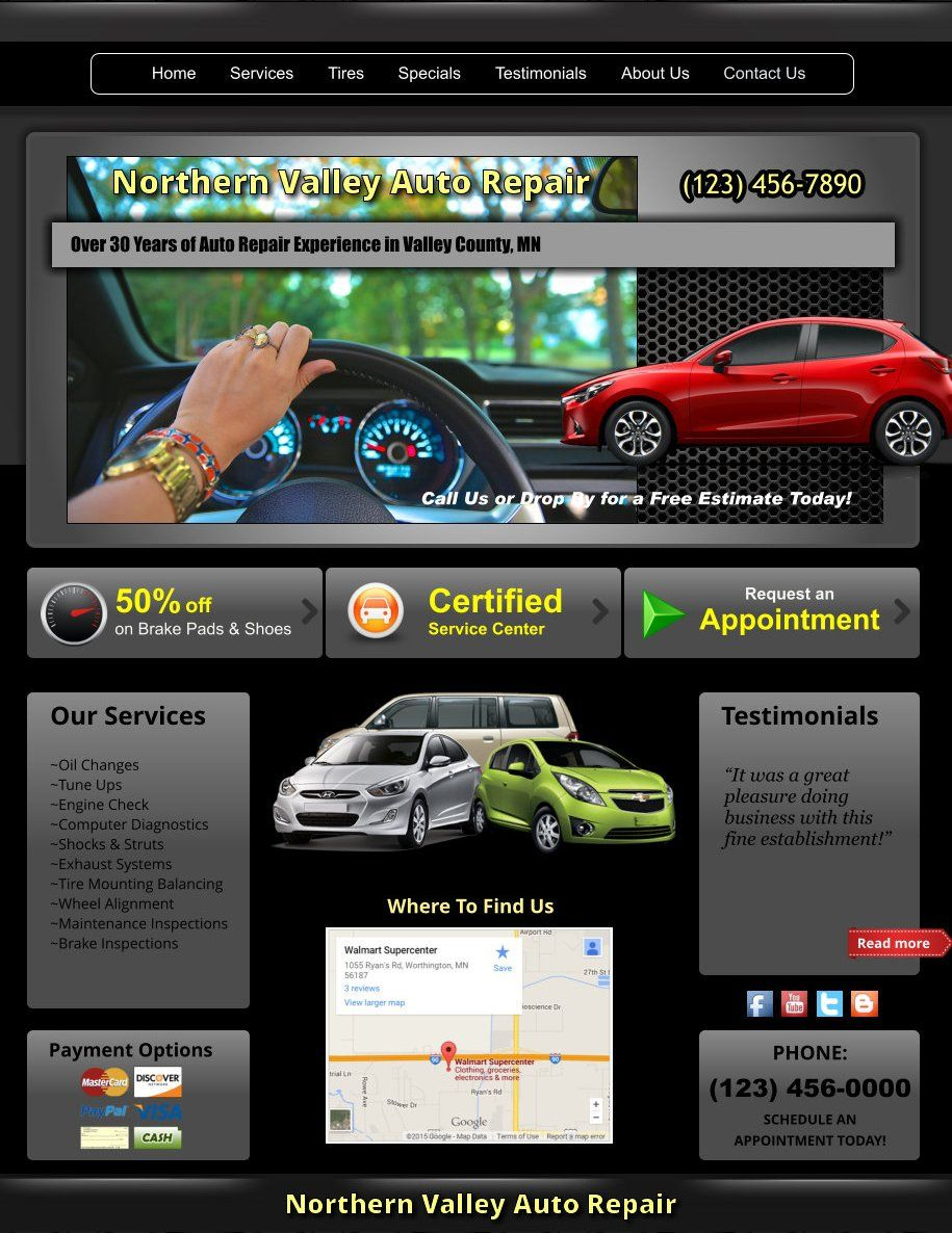 Xara Web Designer 365 Premium Templates - Auto Repair Shop Tires ...