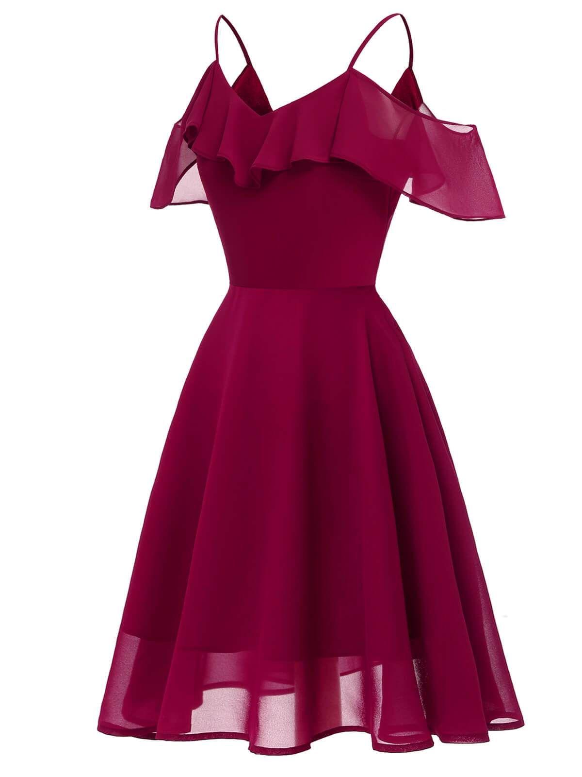 1950s Lace Cold Shoulder Ruffle Dress Spaghetti Strap Prom Dress Cute Prom Dresses Womens Dresses [ 1600 x 1200 Pixel ]