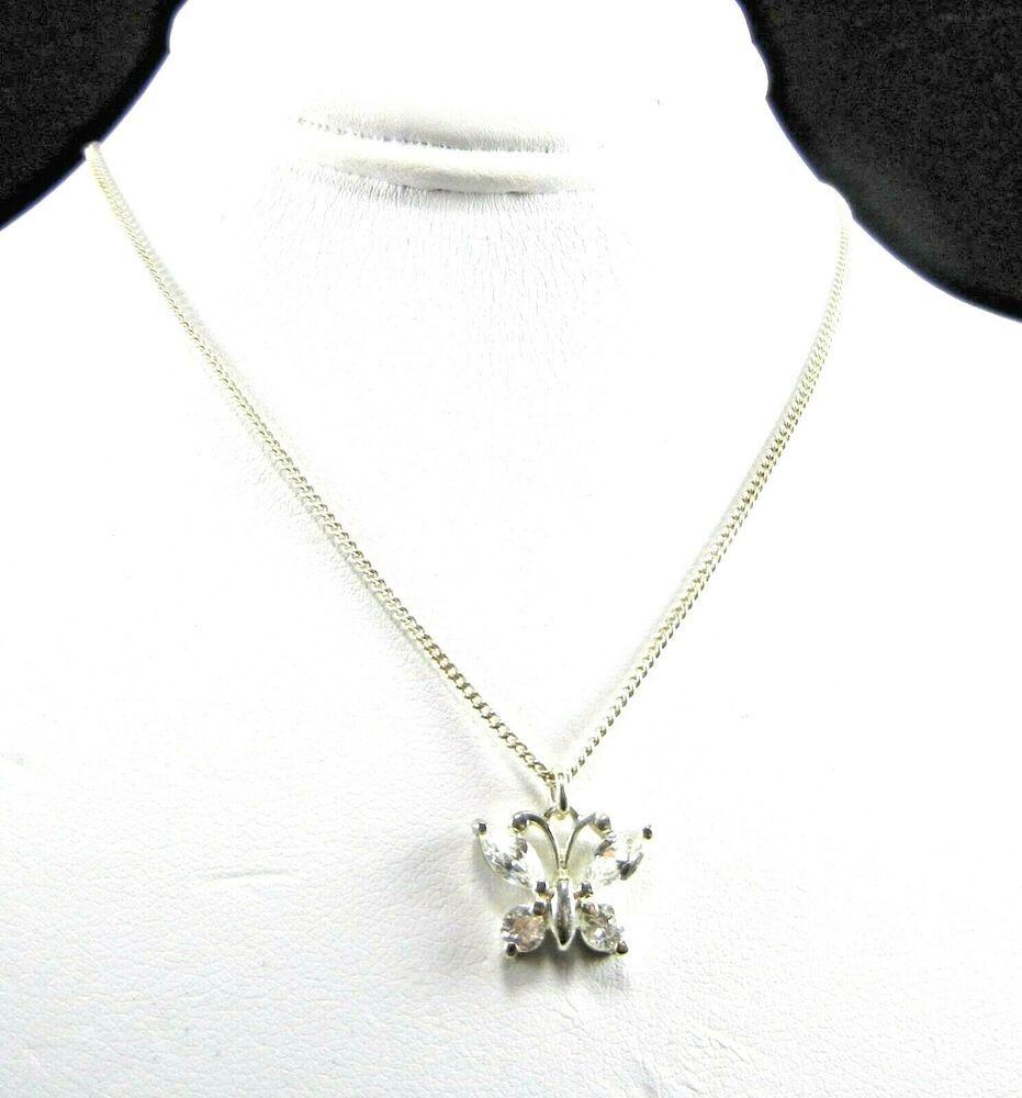 "925 Silver Black /& White CZ Butterfly Necklace 18/"""